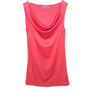 Michael Stars Top   Coral   Sleeveless Cowl Neck